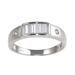 Other - Sterling Silver 925 Rhodium Plated CZ Wedding band